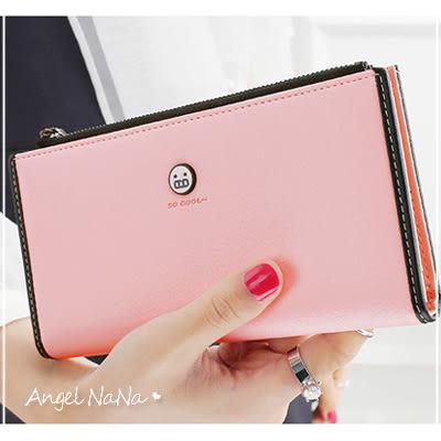 女長夾韓版 可愛撞色 超薄 笑臉 拉鍊 皮夾 長錢包(都有現貨)AngelNaNa SMA0156