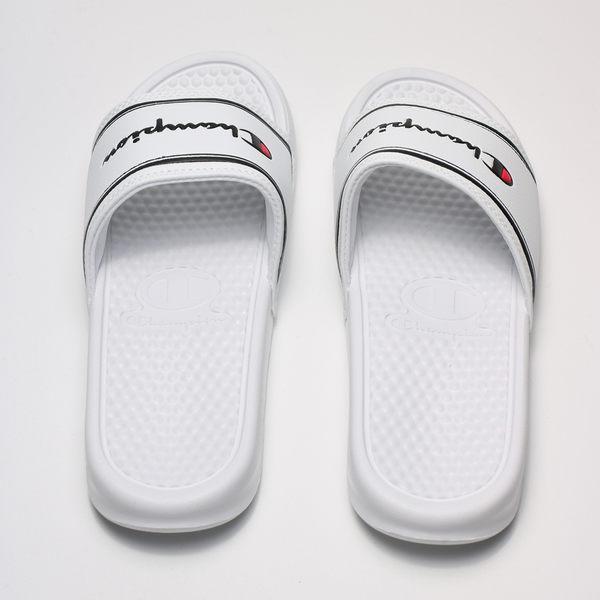 CHAMPION 白底黑線黑LOGO 拖鞋 男女 (布魯克林) 2019/5月 923250200