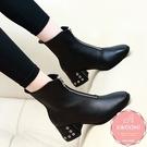 低跟短靴 騎士靴 一字拉鍊五金滾邊 踝靴 馬丁靴*KWOOMI-A104