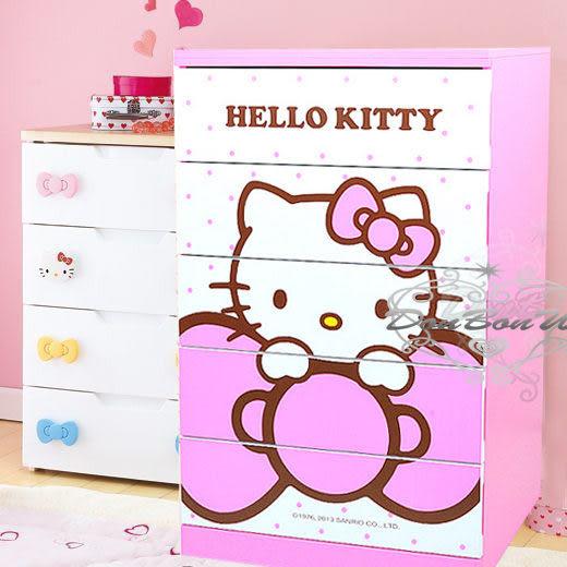 Hello Kitty木製五斗櫃直式5層抽屜櫃子蝴蝶結水玉521769通販屋