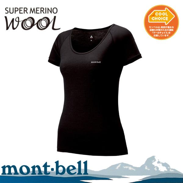 【Mont-Bell 日本 女 SPMW L.W. U NECK T-shirt 短袖內衣《黑》】1107176/羊毛上衣/輕薄