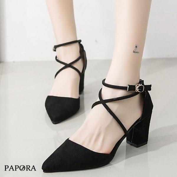PAPORA尖頭性感細跟鞋K41036黑