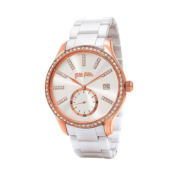 【Folli Follie】Style Bonding希臘晶鑽陶瓷時尚腕錶-天使白/WF18B004BTS_XX/台灣總代理公司貨享兩年保固