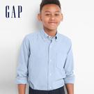 Gap男童 基本款純棉柔軟兒童長袖襯衫 柔軟翻領襯衫 699648-牛津藍
