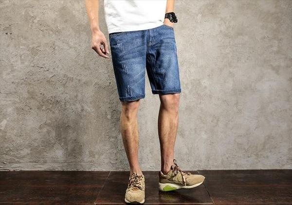 找到自己品牌 時尚潮流 男 日系簡約翻邊 大尺碼 加大 牛仔中褲 牛仔短褲 五分褲