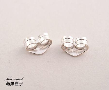 ☆§海洋盒子§☆ 925純銀後扣(一對價10元).(扣子.後塞.塞子.飾品配件.銀飾.純銀耳環)earring backs