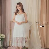 東京著衣【YOCO】高彈力細肩帶拼接蕾絲裙襬內搭洋裝-S.M.L(190642)