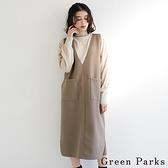 「Winter」V領雙口袋背心洋裝 - Green Parks