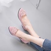大碼平底鞋 春夏新款女鞋蝴蝶結豆豆淺口尖頭低跟平底水鉆單鞋 qf22412『紅袖伊人』