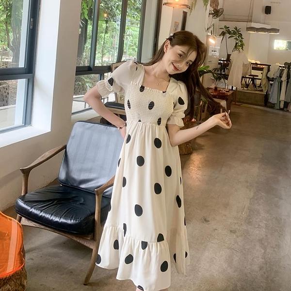 小洋裝 連身裙好質量法式初戀泡泡袖連身裙溫柔風復古方領小眾波點裙子FFA027韓衣裳