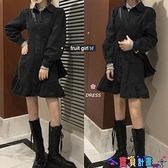 牛仔洋裝 韓版復古黑色牛仔連身裙女秋冬寬鬆翻領單排扣少女荷邊襯衫裙 寶貝計畫