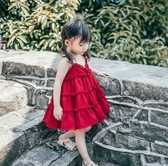 女童雪紡裙 2020夏新款兒童吊帶連衣裙大紅色女童公主裙小孩雪紡裙背心裙正韓【快速出貨】