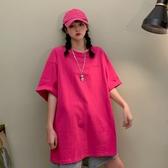 大尺碼上衣 休閒bf風寬鬆學生短袖上衣韓版純色半袖中長款insT恤女夏季潮