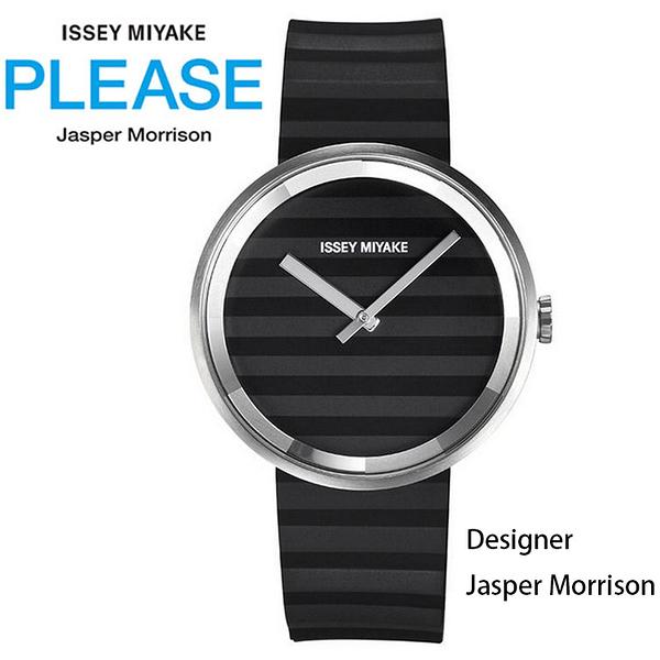 【萬年鐘錶】ISSEY MIYAKE 三宅一生Jasper Morrison PLEASE系列 矽膠錶帶 黑色SILAAA01Y(VJ20-0110C)