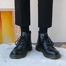 馬丁靴男款 秋季黑色真皮高幫馬丁靴男英倫復古中幫工裝靴百搭帥氣機車潮靴子