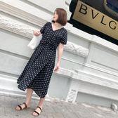 2018夏裝新款胖mm大碼女裝寬松顯瘦V領開叉波點短袖連衣裙