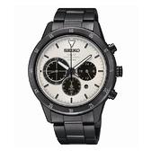 SEIKO Criteria 太陽能三眼計時腕錶/白面x黑鋼/V175-0DA0W