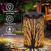 戶外太陽能鐵藝燈籠 歐式花園燈鏤空壁掛手提樹葉投影燈