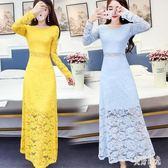 蕾絲洋裝 2019春裝韓版緊身修身性感長袖長裙魚尾包臀打底蕾絲洋裝女aj1093『美好時光』