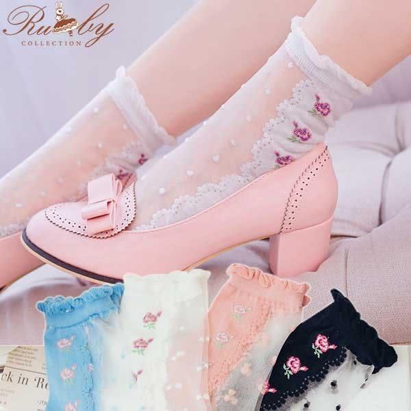 襪子 透膚點點玫瑰花短襪-Ruby s 露比午茶