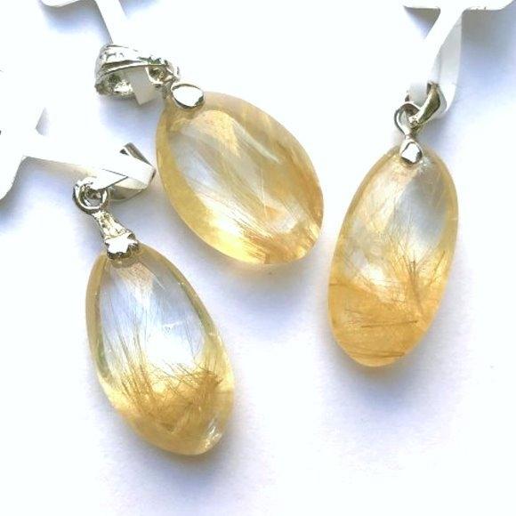 『晶鑽水晶』天然金髮鈦晶墜子 超值特惠中 強力招財 加強果斷力 增加自信 生日禮物 18-21號