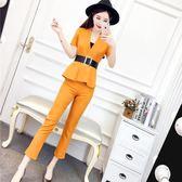 小香風俏皮套裝女兩件套套裝夏季韓版氣質V領上衣 高腰修身九分褲
