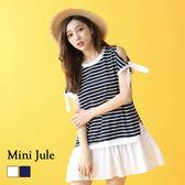 洋裝 露肩綁帶條紋荷葉擺洋裝 小豬兒 Mini Jule【YTF81006125】現貨