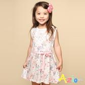 Azio 女童 洋裝 滿版蝴蝶花草印花綁帶無袖洋裝(白) Azio Kids 美國派 童裝