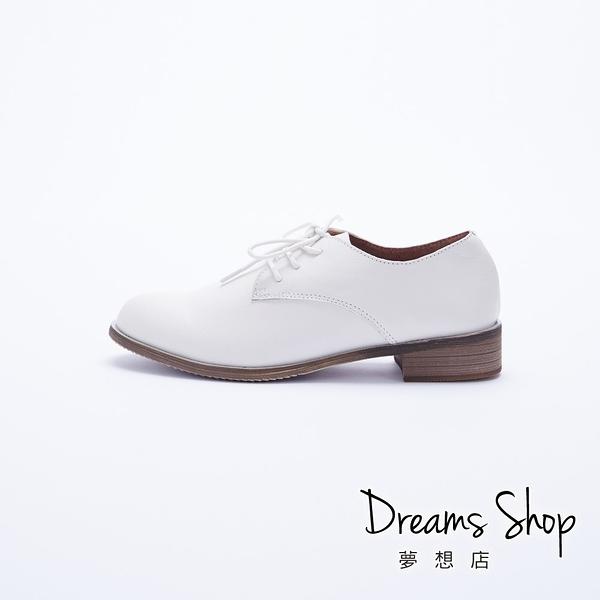大尺碼女鞋 夢想店 時尚經典素面款百搭簡約真皮牛津鞋4cm(41-45)【JSM0-13】白色