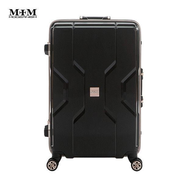 MOM JAPAN日本品牌 2018新款 輕量化鋁框亮面 PP材質 行李箱/旅行箱 -24吋-黑 M3002