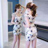 洋裝 韓版 派對夜店 婚禮 小禮服 碎花 無袖 包臀 連身裙 花漾小姐【預購】