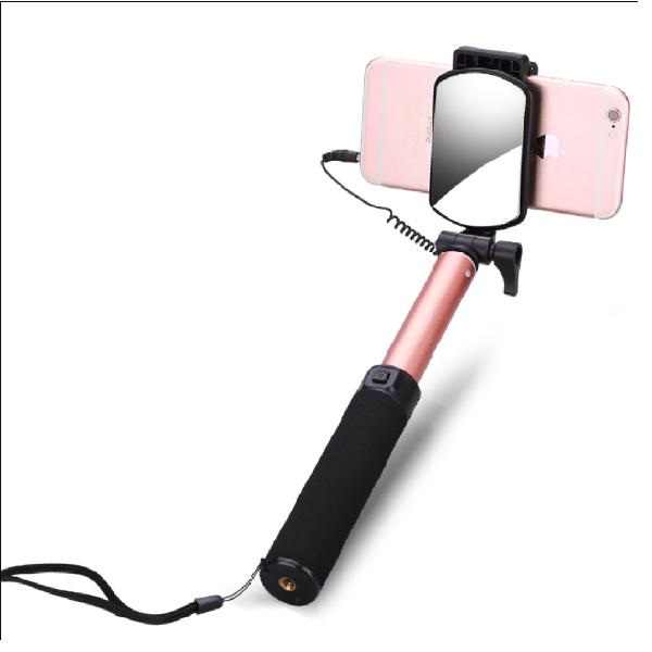 自拍神器 自拍桿 鋁合金自拍桿 80cm 自拍棒 伸縮自拍桿 線控 大鏡面 可折疊 拍照神器 手機支架