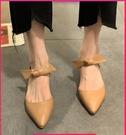 高跟鞋女夏尖頭涼鞋仙女風中跟2021年新款春秋百搭網紅瑪麗珍單鞋 伊蘿