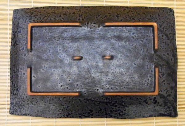 日本陶瓷【萬古燒】油滴天目 34x24cm大方盤 手工陶土 和風宴客餐盤