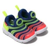NIKE DYNAMO FREE 童鞋 小童 慢跑 休閒 毛毛蟲 藍 綠 粉 【運動世界】 AA7217-400