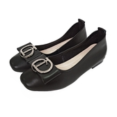 MICHELLE PARK 氣質 ‧ 柔軟牛皮水鑽飾扣包鞋-黑