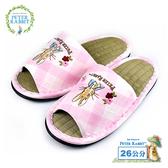 【クロワッサン科羅沙】Peter Rabbit TP斜格花兔顏草蓆室內拖鞋 (粉26CM)