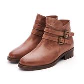 MICHELLE PARK 率性時尚 雙層皮帶拉鍊低跟短靴-橘棕