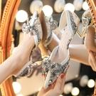 2021年名媛法式珍珠單鞋女小香風新款低跟蝴蝶結水晶高跟鞋女細跟