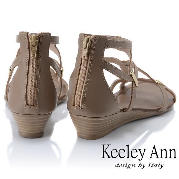 ★2019春夏★Keeley Ann細條帶 輕巧時尚線條感平底涼鞋(咖啡色)