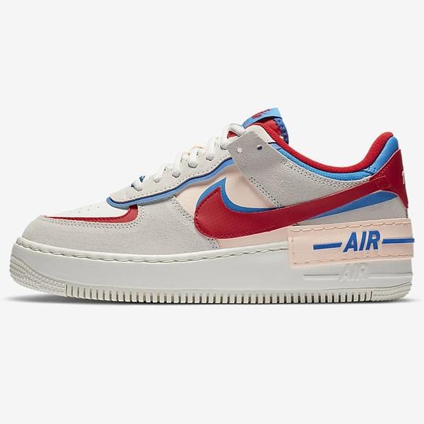 NIKE AF1 Shadow 女鞋 休閒 經典 雙重設計 緩震 麂皮 米灰藍紅【運動世界】CU8591-100
