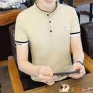 男士短袖t恤 純棉半袖上衣服夏季薄款潮流半高領小衫立領polo衫男