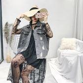 釘珠破洞牛仔馬甲女春裝2018新款韓版百搭短款背心chic外套上衣潮