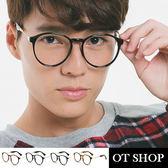 OT SHOP眼鏡框‧中性文青橢圓鏡框款‧簡約金屬鏡腳造型平光眼鏡‧霧黑/茶色‧豹紋‧現貨‧J25