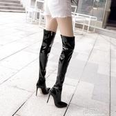 歐美大碼超高跟細跟防水台漆皮膝上靴超長筒靴鋼管舞情趣偽娘女靴『櫻花小屋』