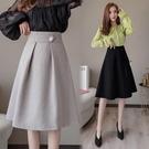 適合胯大腿粗的裙子女2021早春新款高腰顯瘦中長款大擺A字半身裙