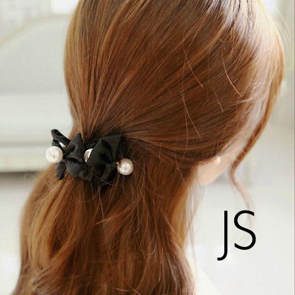 髮飾【JS精心苑】韓版高檔珍珠蝴蝶結髮圈 髮繩/飾品/配件/髮飾/髮圈/髮帶