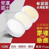TOYAMA特亞馬 12W超薄LED雷達微波感應吸頂燈 全暗全亮型 白光、黃光、自然光【免運直出】