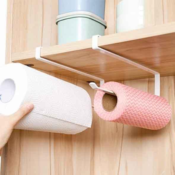 Qmishop 多功能捲筒紙架 免打孔廚房用紙巾架 捲紙架壁掛捲筒紙架【J3070】