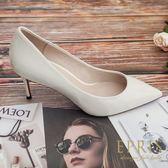 現貨 韓國製造  牛皮尖頭鞋漆皮細跟鞋 22-26 EPRIS艾佩絲-浪漫白